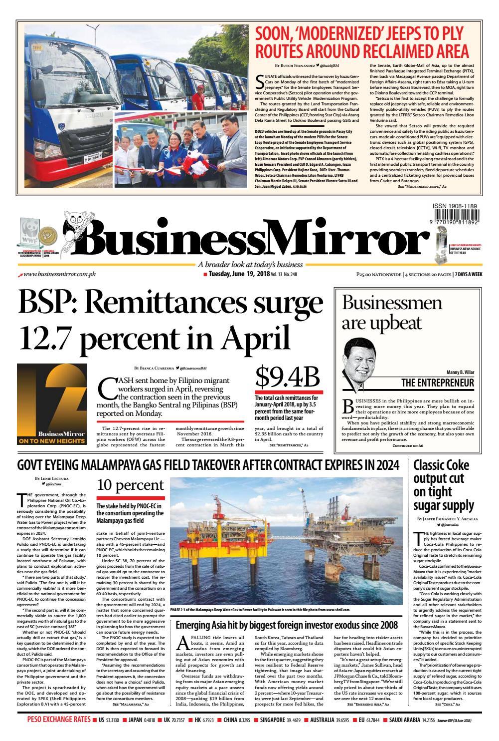 Businessmirror june 19, 2018 by BusinessMirror - issuu