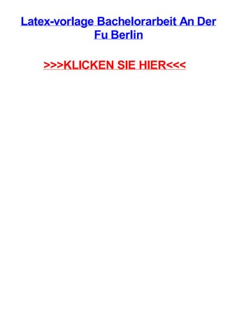 formatvorlage dissertation fu berlin