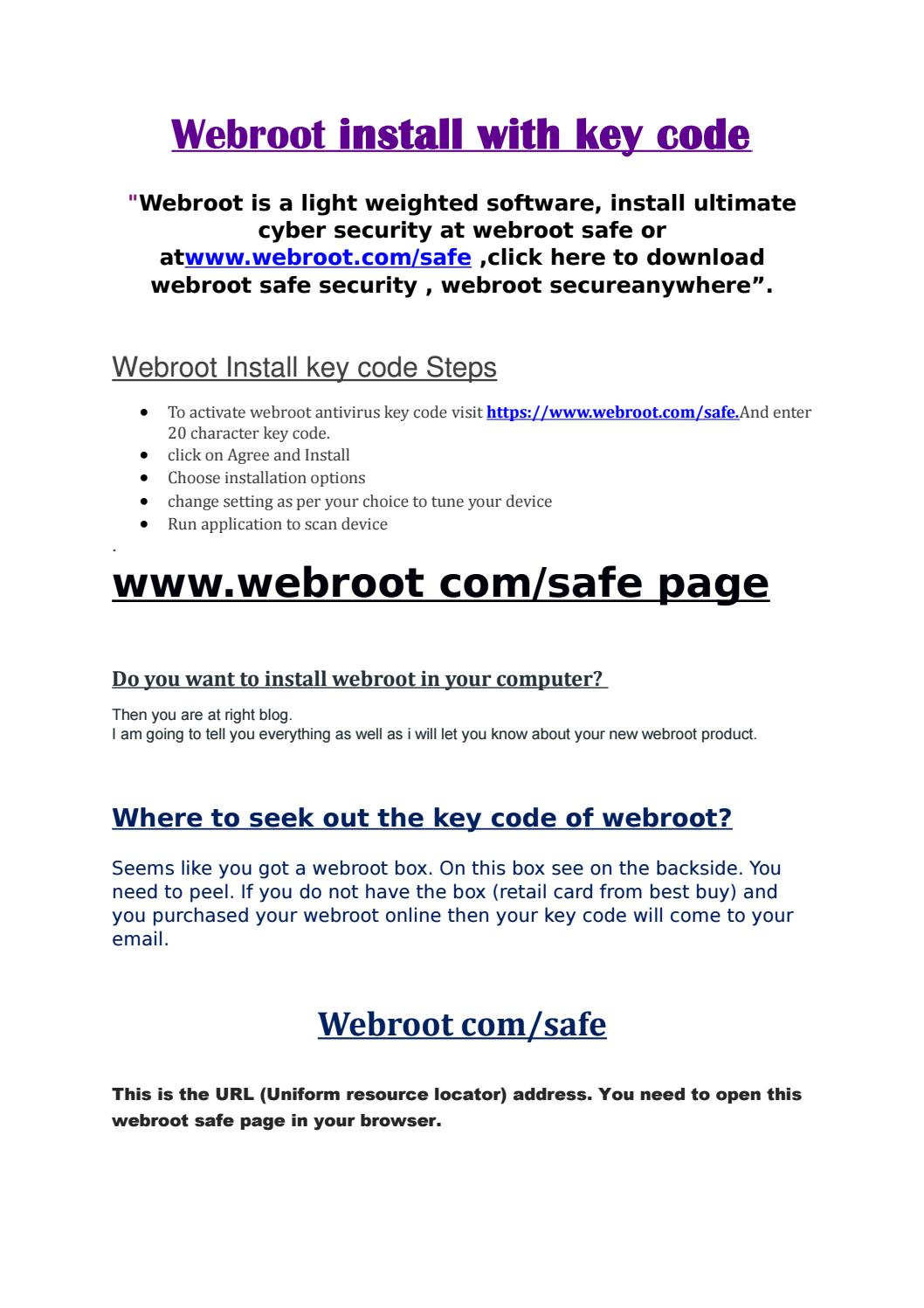 Webroot install with key code by Richard james - issuu