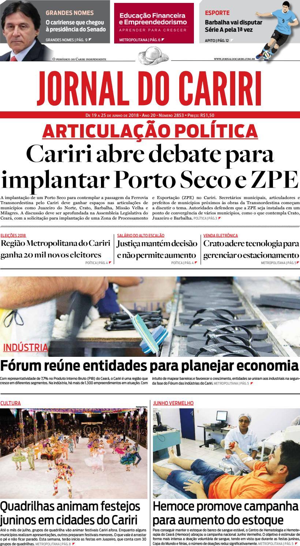 3ff5c13661c6b Jornal do Cariri - 19 a 25 de junho de 2018 by Ceará News - issuu