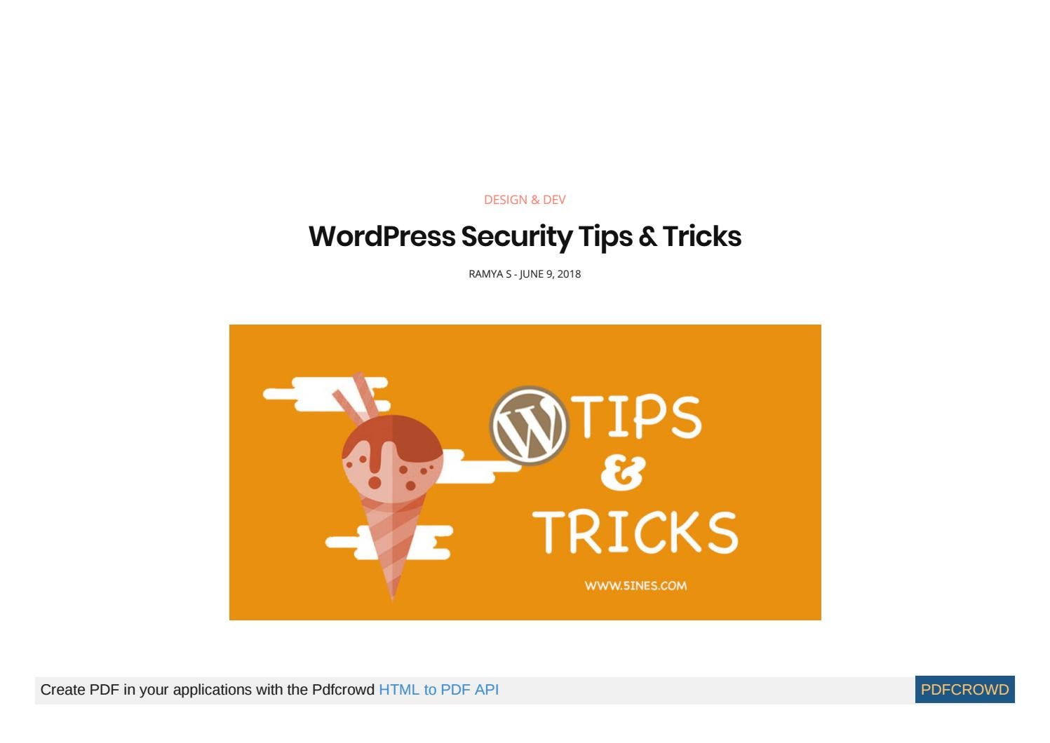 Wordpress Security Tips And Tricks By Rohithjain Issuu