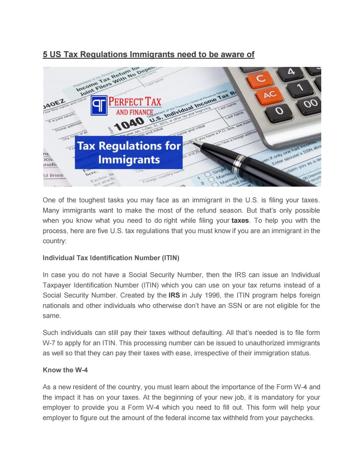 5 us tax regulations immigrants need to be aware of by