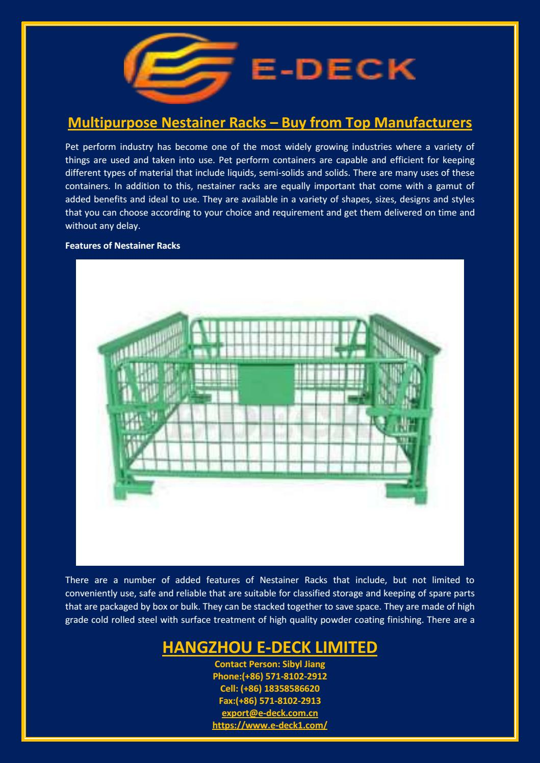 Multipurpose nestainer racks – buy from top manufacturers by
