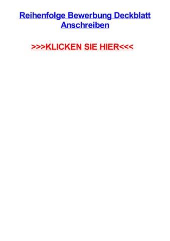 Reihenfolge Bewerbung Deckblatt Anschreiben By Angiexbkc Issuu