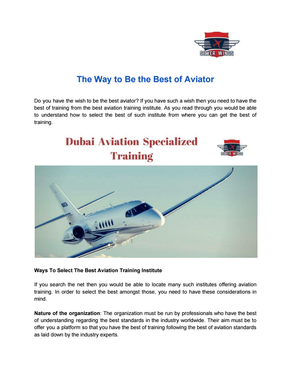 The way to be the best of aviator by Silver Wings - issuu