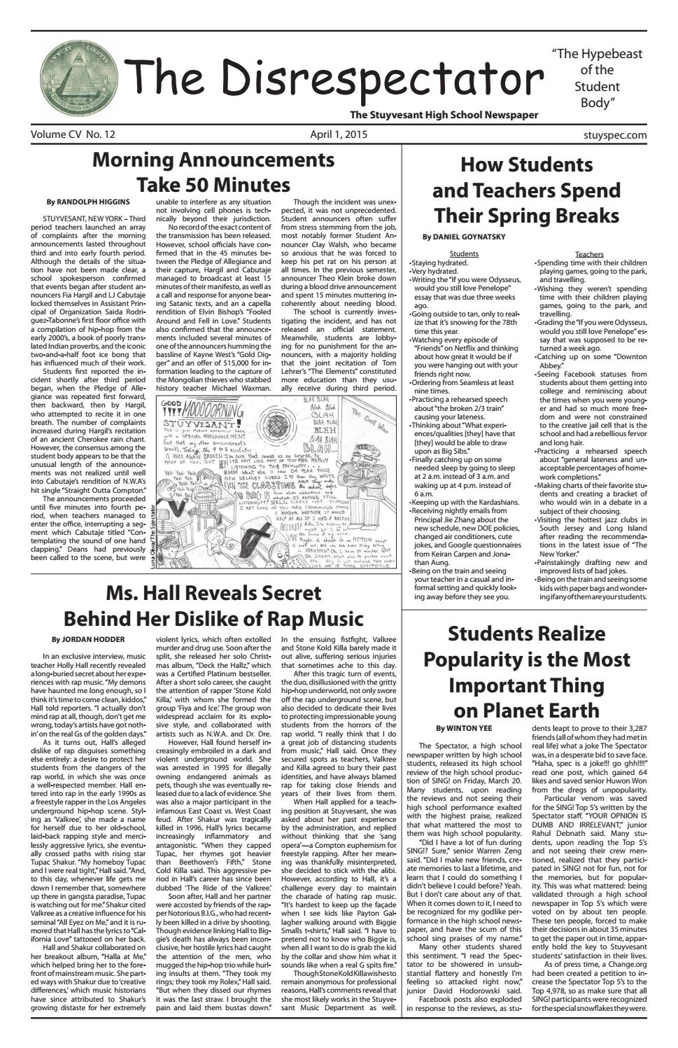 Volume 105, Issue 12 by The Stuyvesant Spectator - issuu