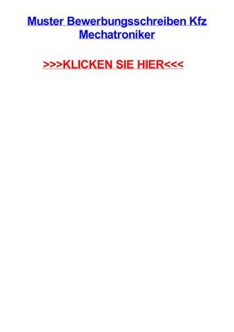 Muster Bewerbungsschreiben Kfz Mechatroniker By Dmvckhb Issuu