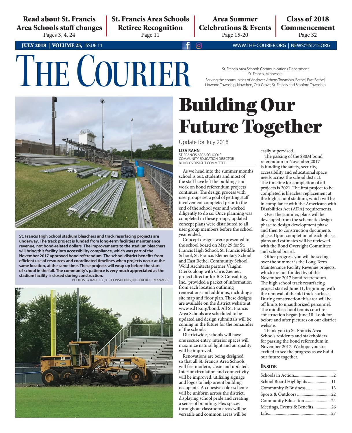 The Courier July 2018 By St Francis Area Schools Issuu Rvnet Open Roads Forum Fifthwheels Plumbing Schematics