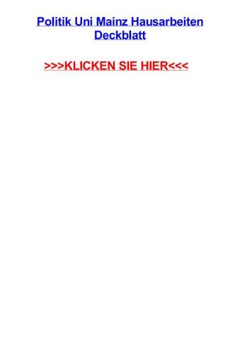 Politik Uni Mainz Hausarbeiten Deckblatt By Stevenzlew Issuu