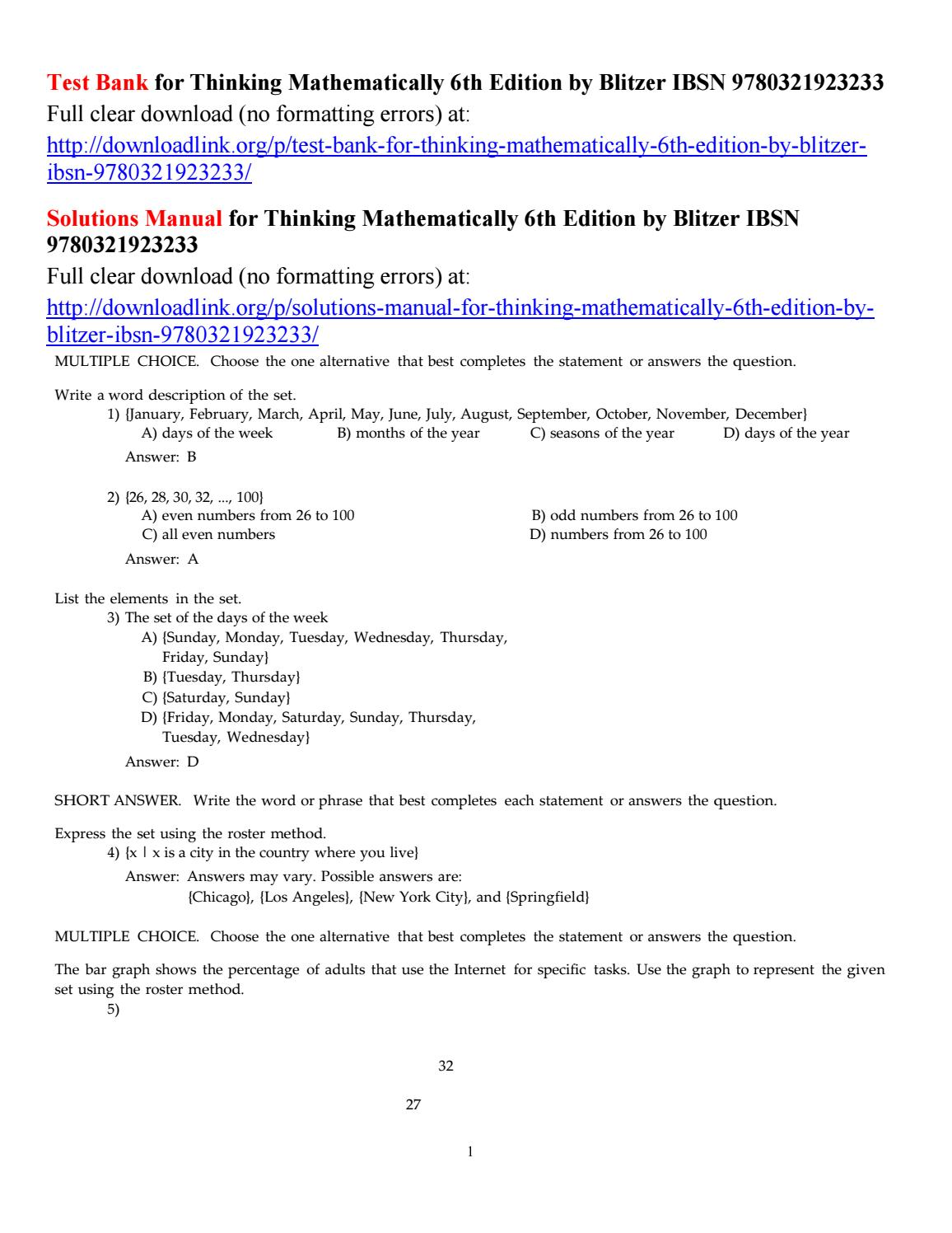 Test bank for thinking mathematically 6th edition by blitzer ibsn  9780321923233 by Martinuuu - issuu