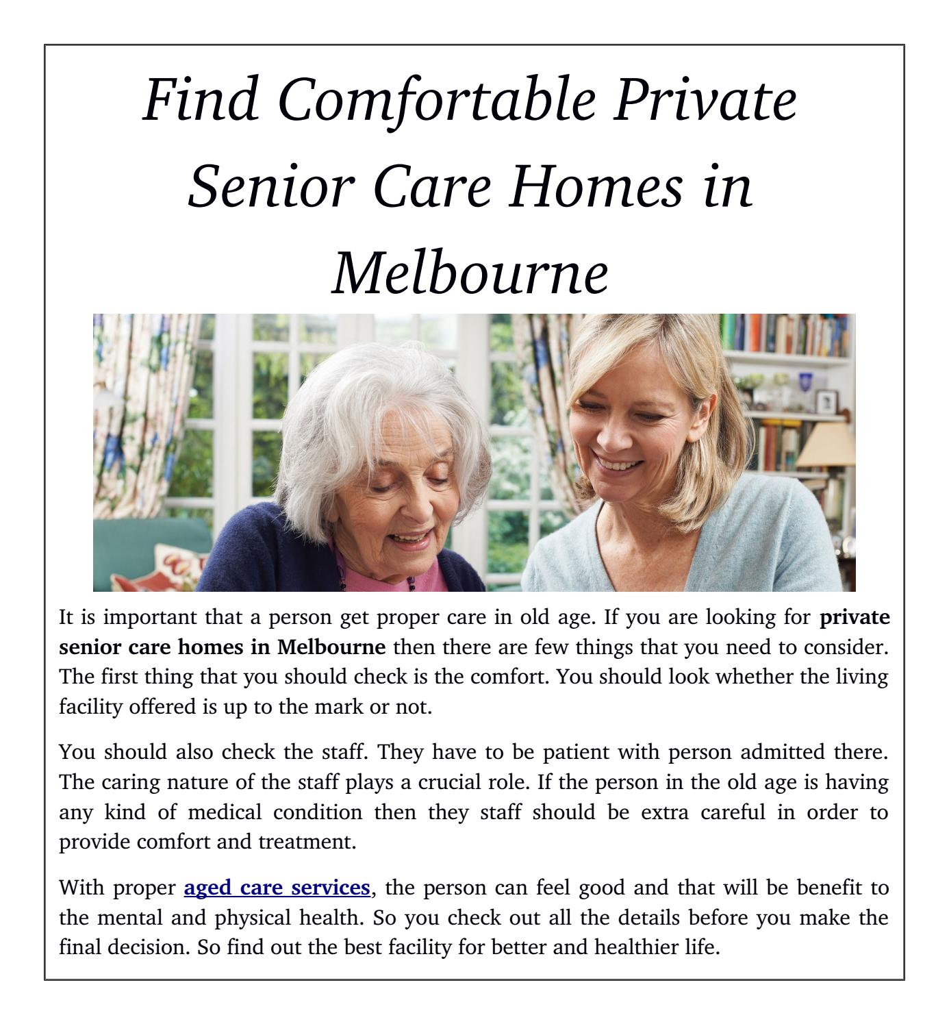 importance of old age care