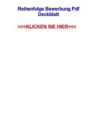 Reihenfolge Bewerbung Pdf Deckblatt By Aliciapqjrr Issuu