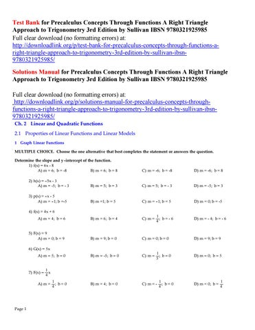 Test Bank for Precalculus Concepts Through Functions A Right