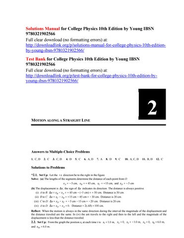 Solutions Manual for College Physics 10th Edition by Young IBSN
