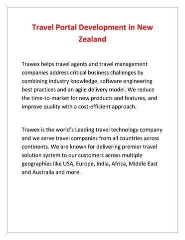 Travel Portal Development in New Zealand by Liam Scott - issuu