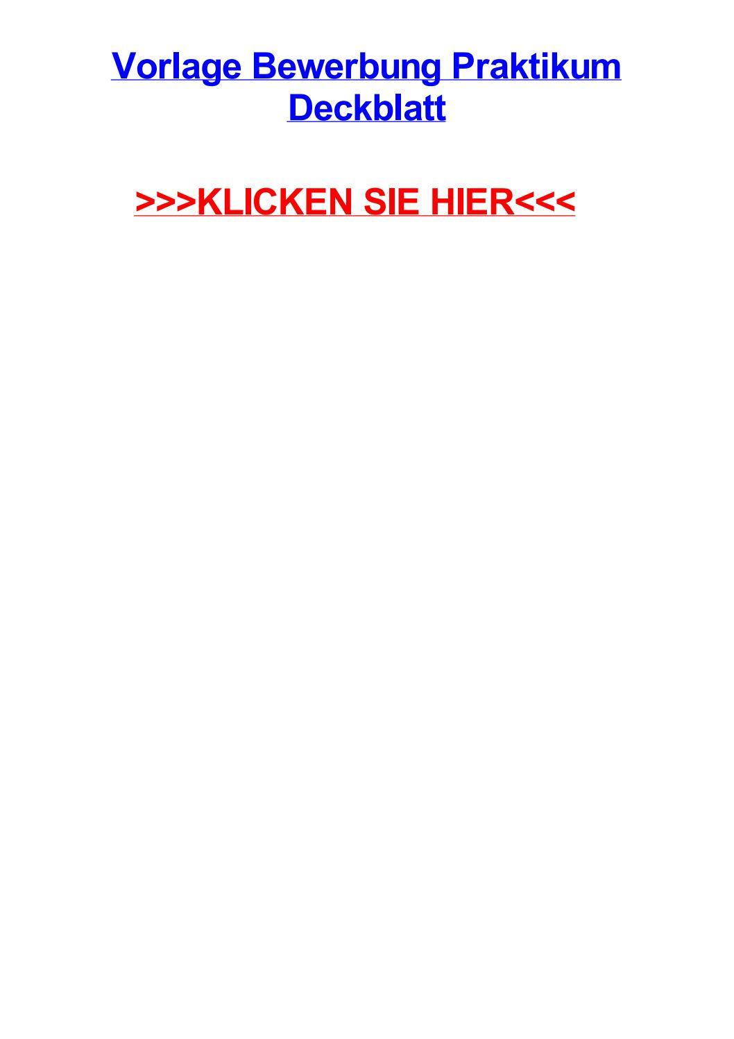 Praktikumsbericht Deckblatt Praktikumsberichte
