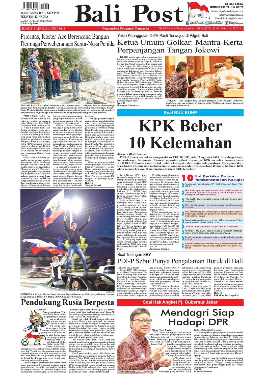 Edisi Kamis 21 Juni 2018 Balipostcom By E Paper KMB Issuu