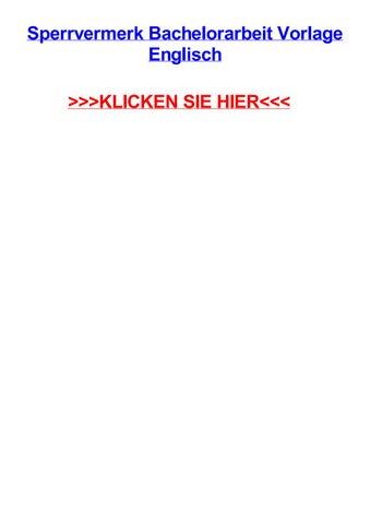 Sperrvermerk bachelorarbeit vorlage englisch by angelinaamfi - issuu