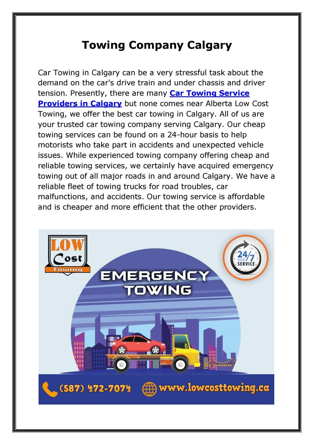 Towing Service Cost >> Car Towing Service Providers In Calgary By Alberta Low Cost Towing