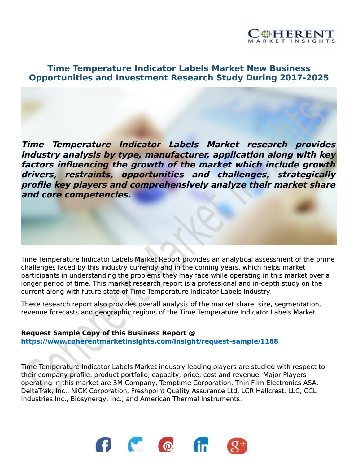 Time temperature indicator labels market new business