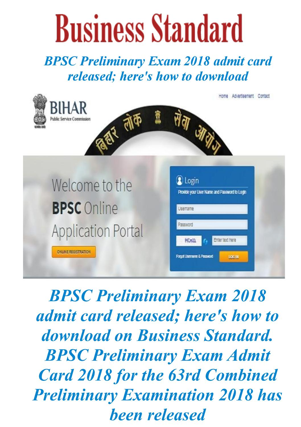 Bpsc preliminary exam 2018 admit card released