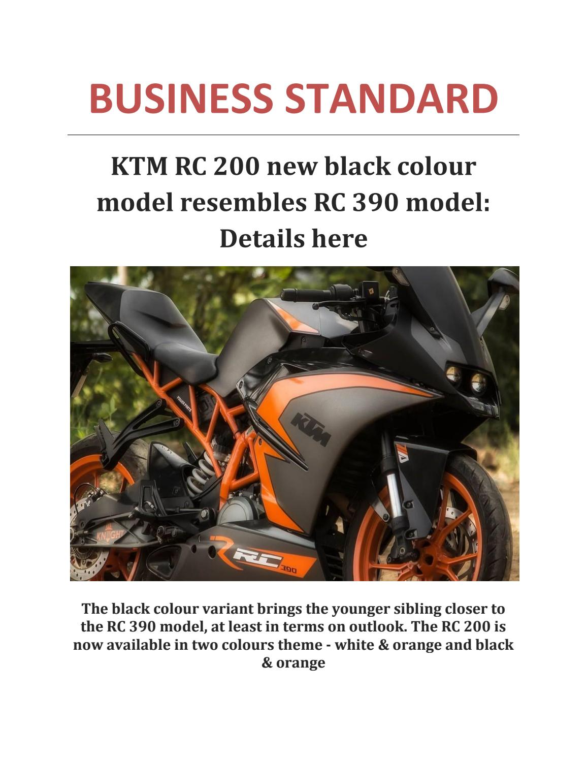 Ktm Rc 200 New Black Colour Model Resembles Rc 390 Model Details Here By Sharmaheena0 Issuu