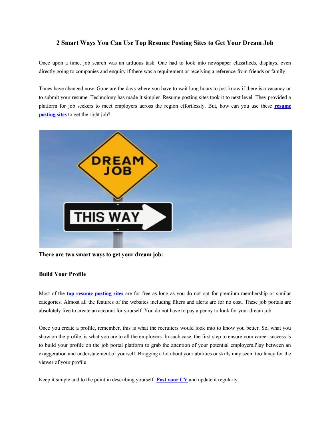 2 Smart Ways You Can Use Top Resume Posting Sites To Get Your Dream