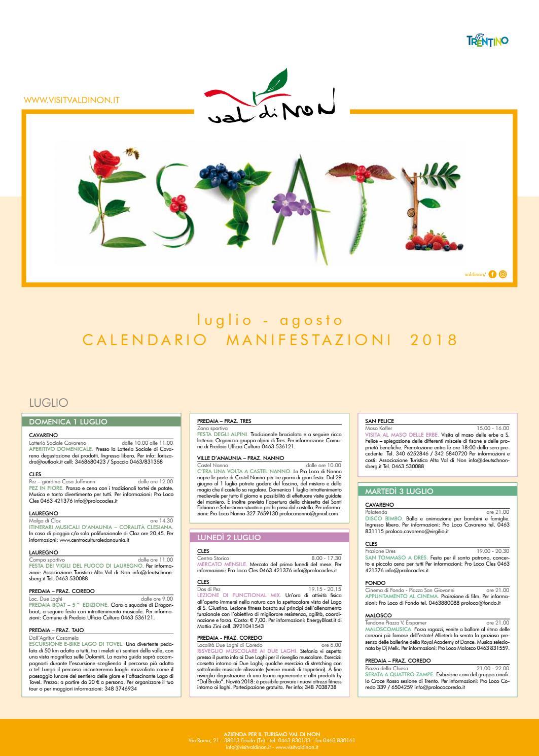 Calendario Raccolte Domenicali Ama.Tabloid Estate 2018 Web By Apt Val Di Non Issuu