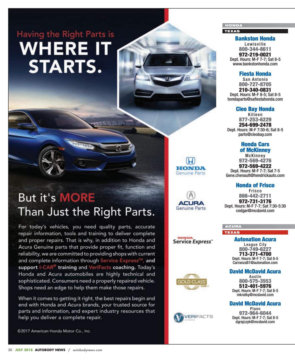 David Mcdavid Acura Austin >> July 2018 Southwest Edition By Autobody News Issuu