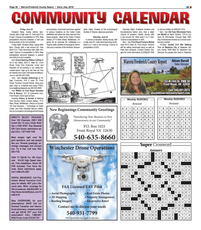 Early July 2018 Warren/Frederick County Report by Warren/Frederick