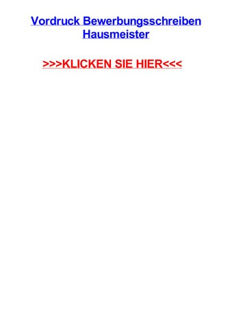 Vordruck Bewerbungsschreiben Hausmeister By Jacquelinegchwi Issuu