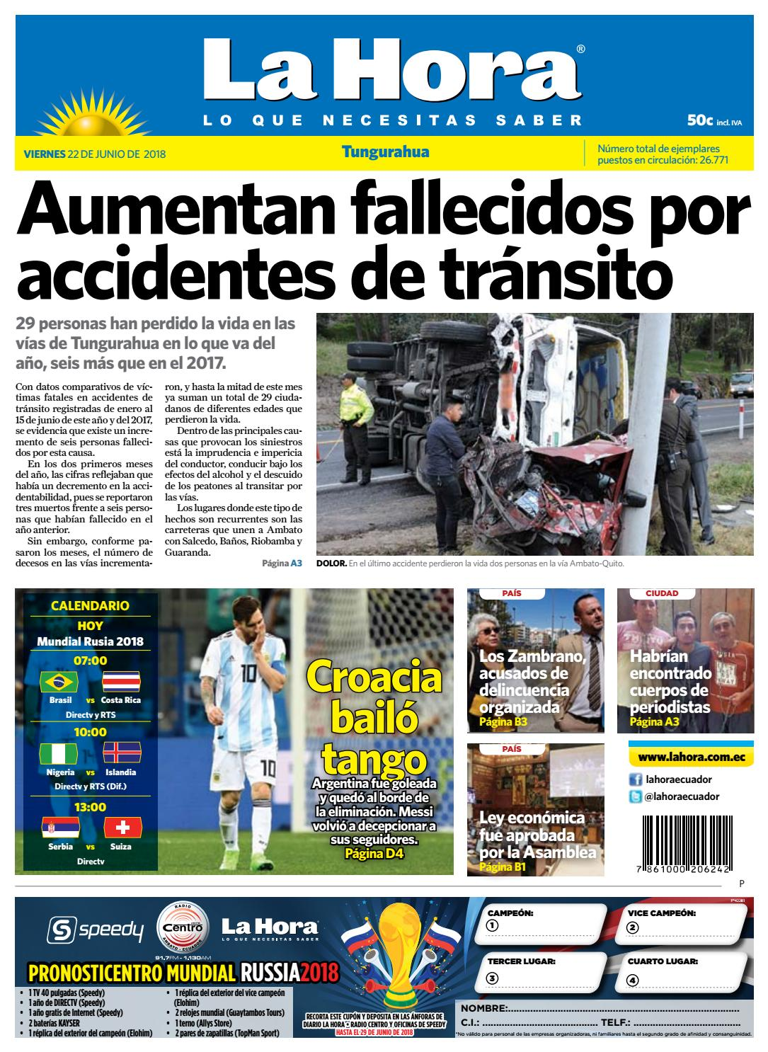 Tungurahua 22 de junio de 2018 by Diario La Hora Ecuador - issuu 494f8a3b984