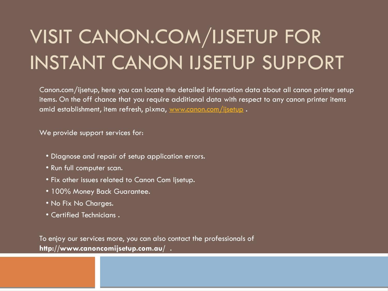 Canon.com/ijsetup  How to setup your printer   www.canon.com ...