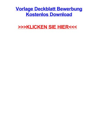 Vorlage Deckblatt Bewerbung Kostenlos Download By Justinfcvie Issuu