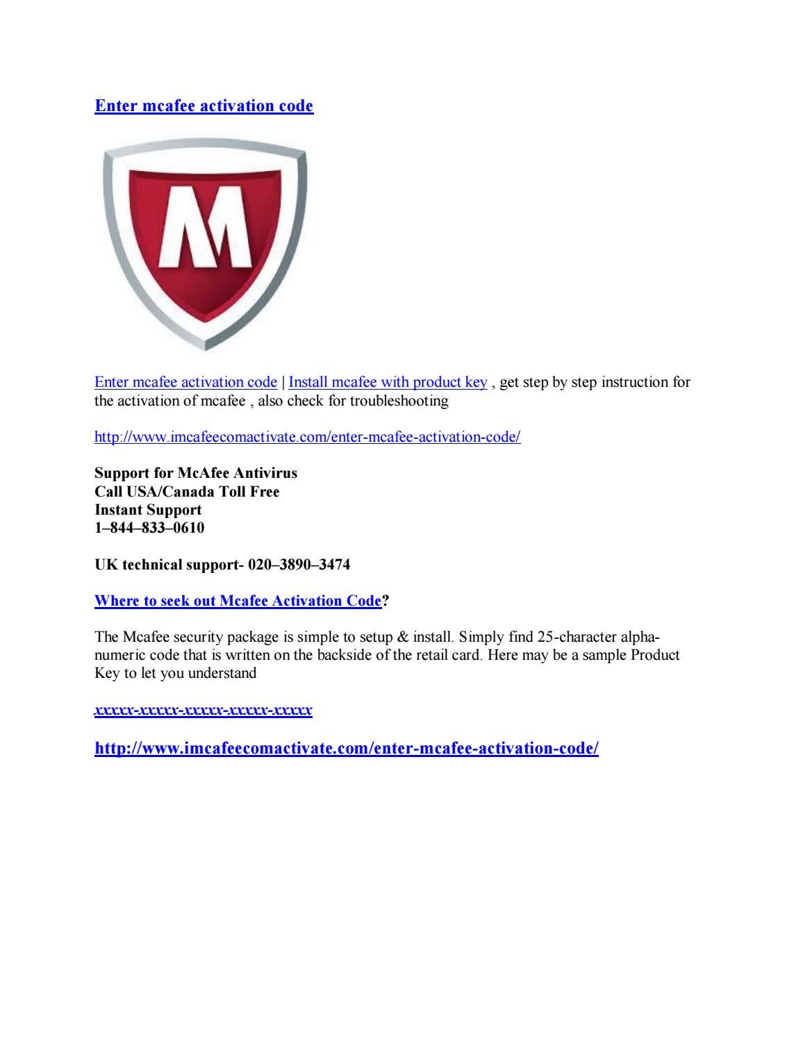 Enter mcafee activation code by sarika singh - issuu