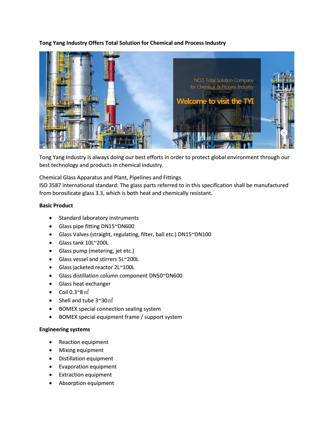 Tong Yang Industry Offers Total Solution for Chemical and Process