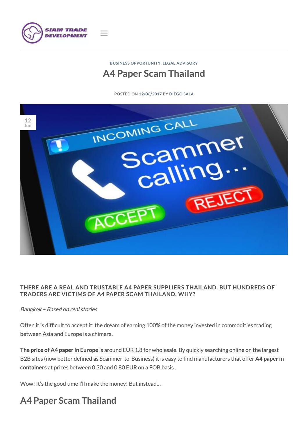 A4 paper scam thailand • siam trade development by Siam