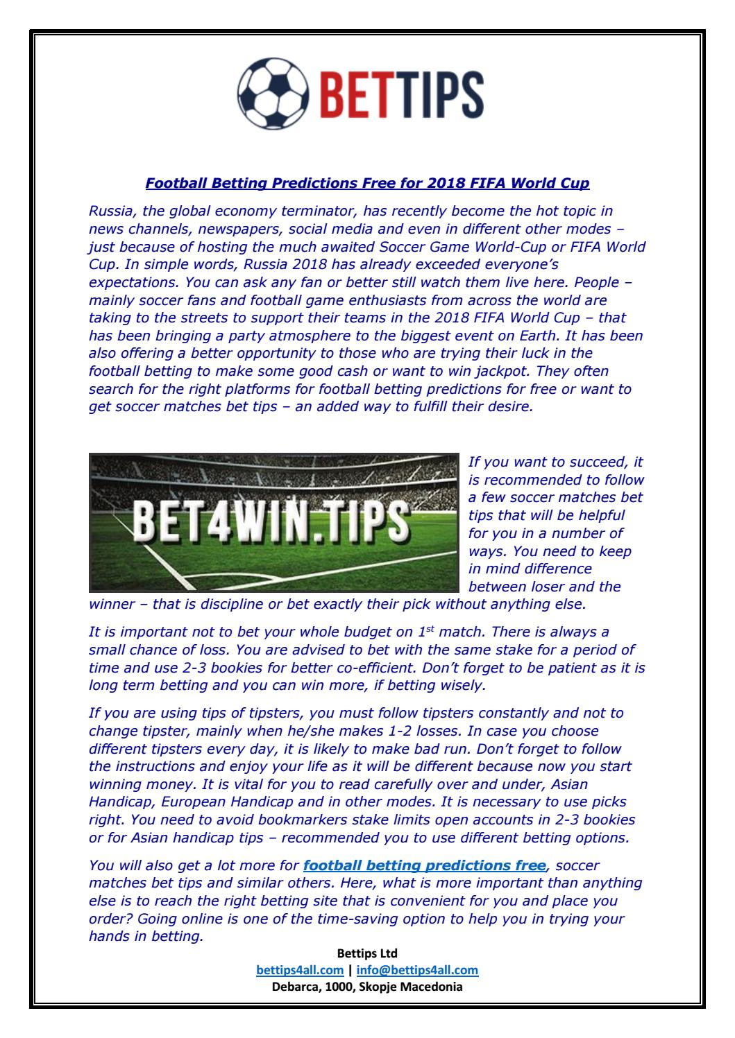 Football betting predictions free for 2018 fifa world cup by Bettips