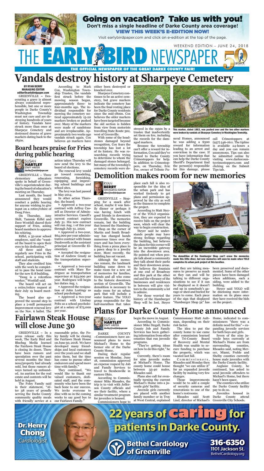 47b7dc5b8 Early Bird eNewspaper 062418 by The Early Bird - issuu