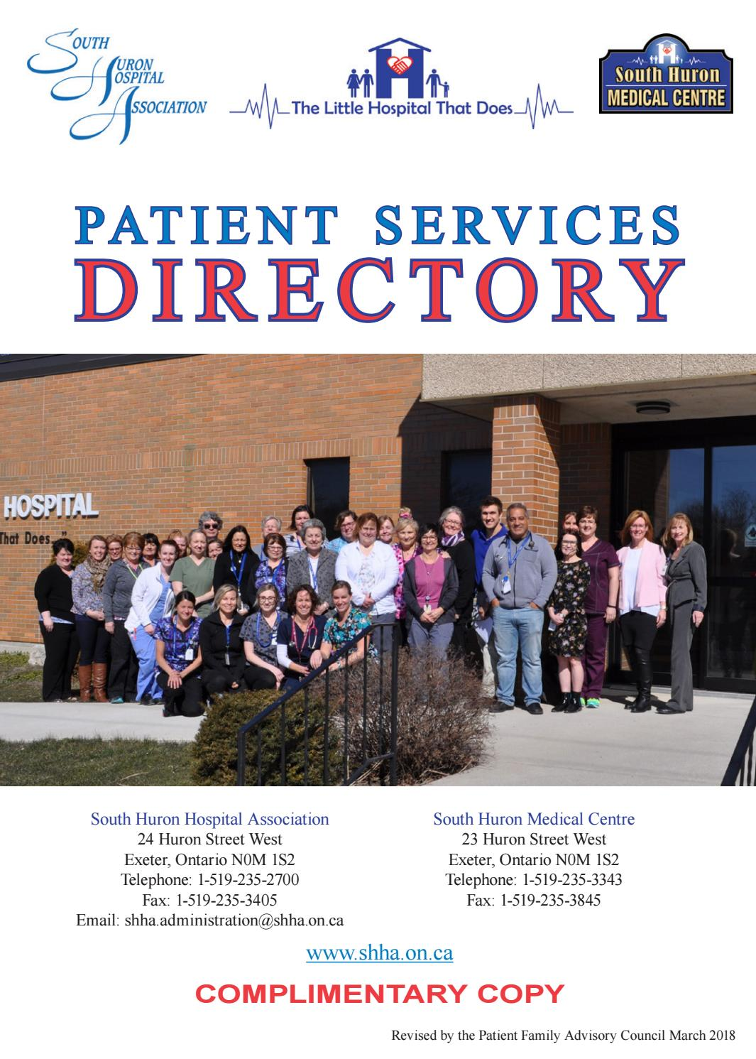 South Huron Hospital Association Patient Services Directory