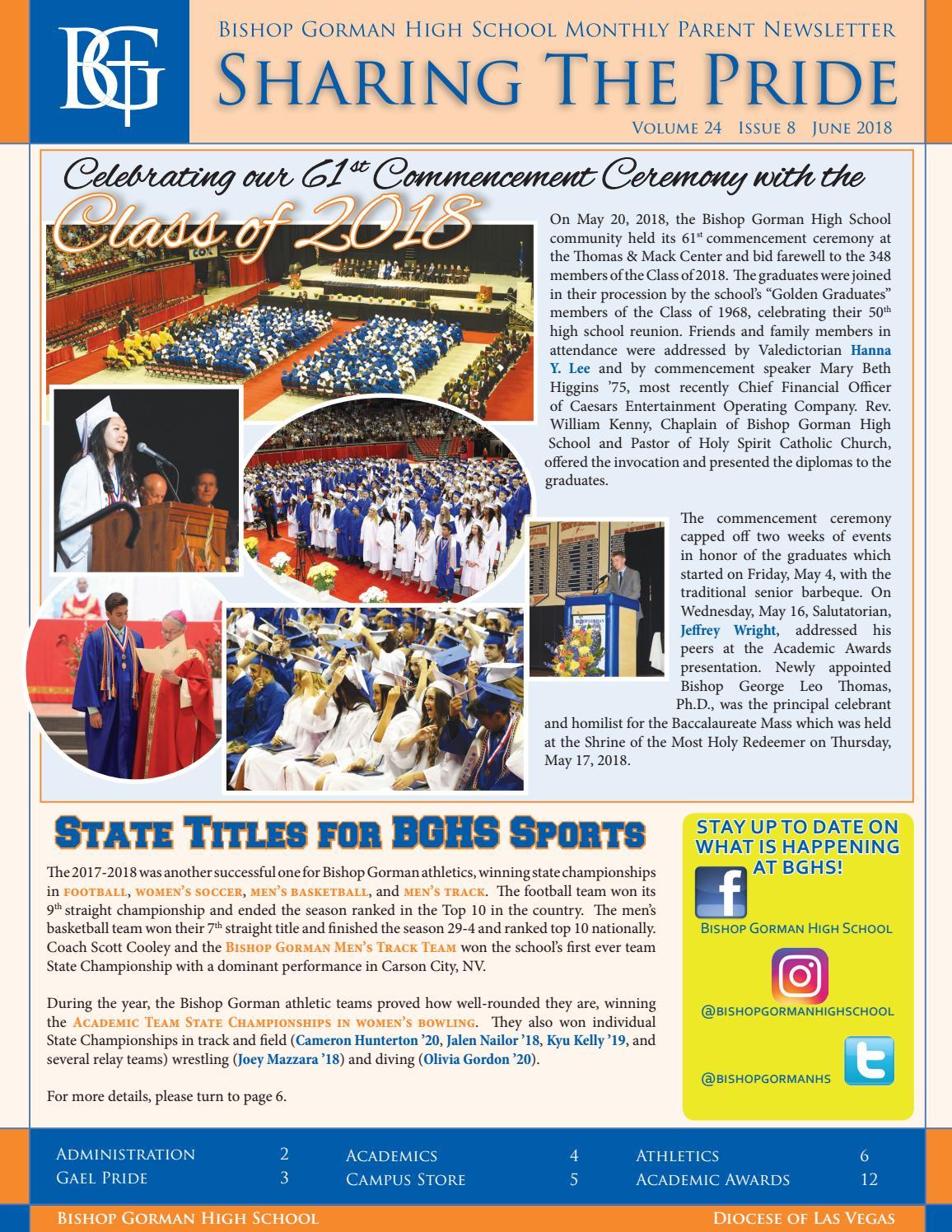 Bishop Gorman High School Sharing The Pride Newsletter Summer 2018