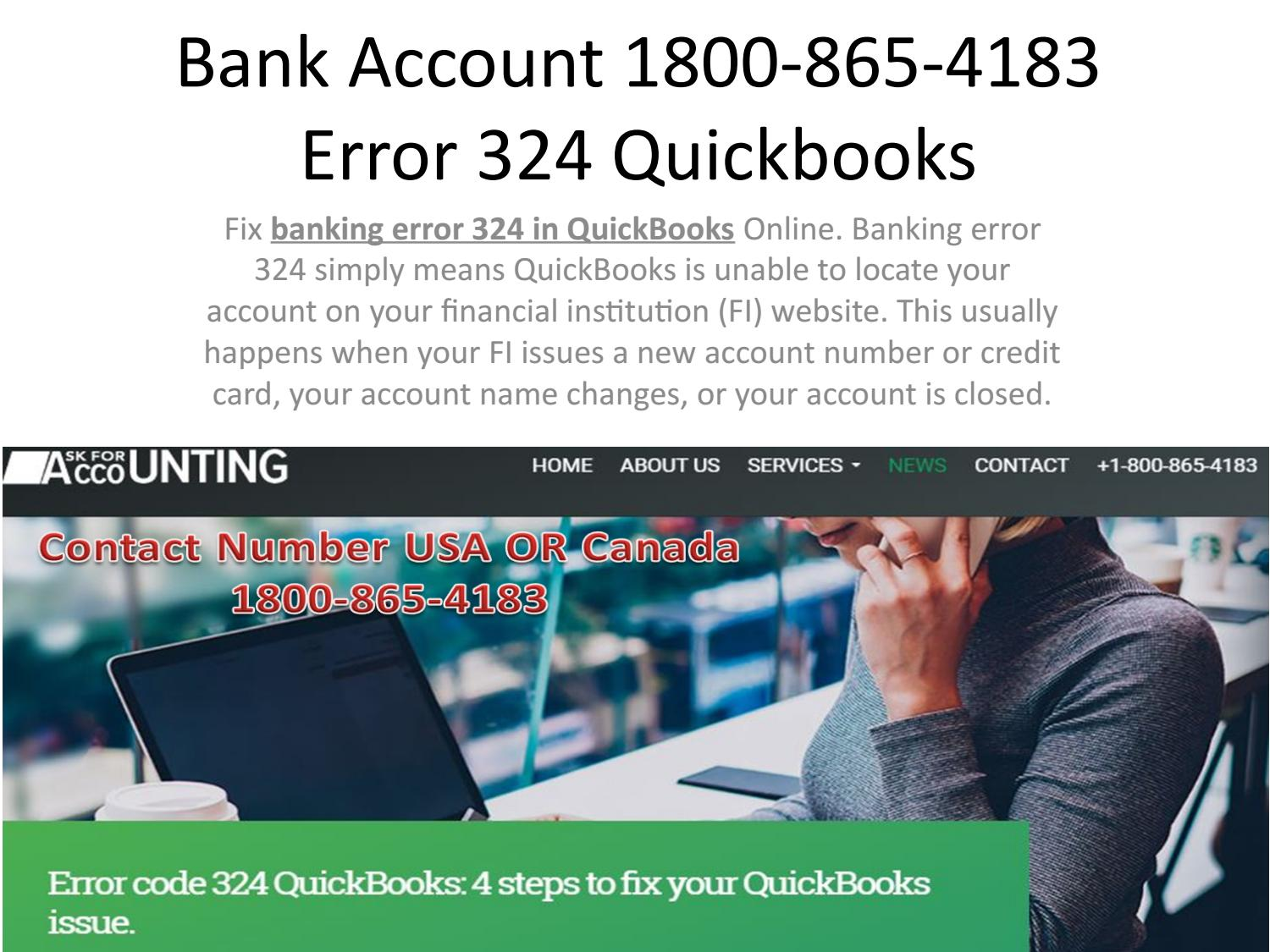 Bank account 1800-865-4183 error 324 quickbooks by Used Auto Parts