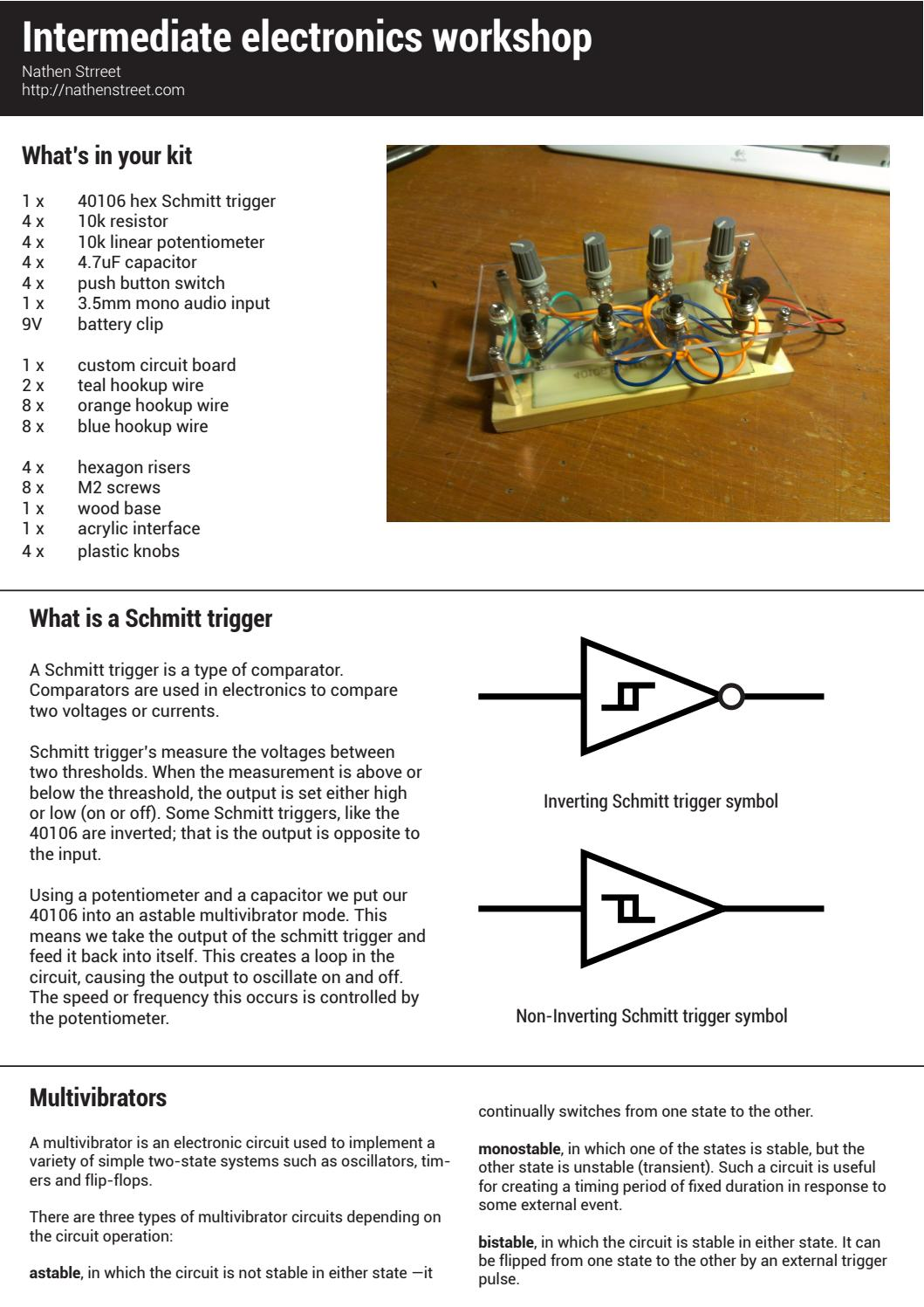 40106 Hex Schmitt Trigger Synthesizer By Nathenstreet Issuu Monostable Means That Once The Circuit Is Switched On It Will Time