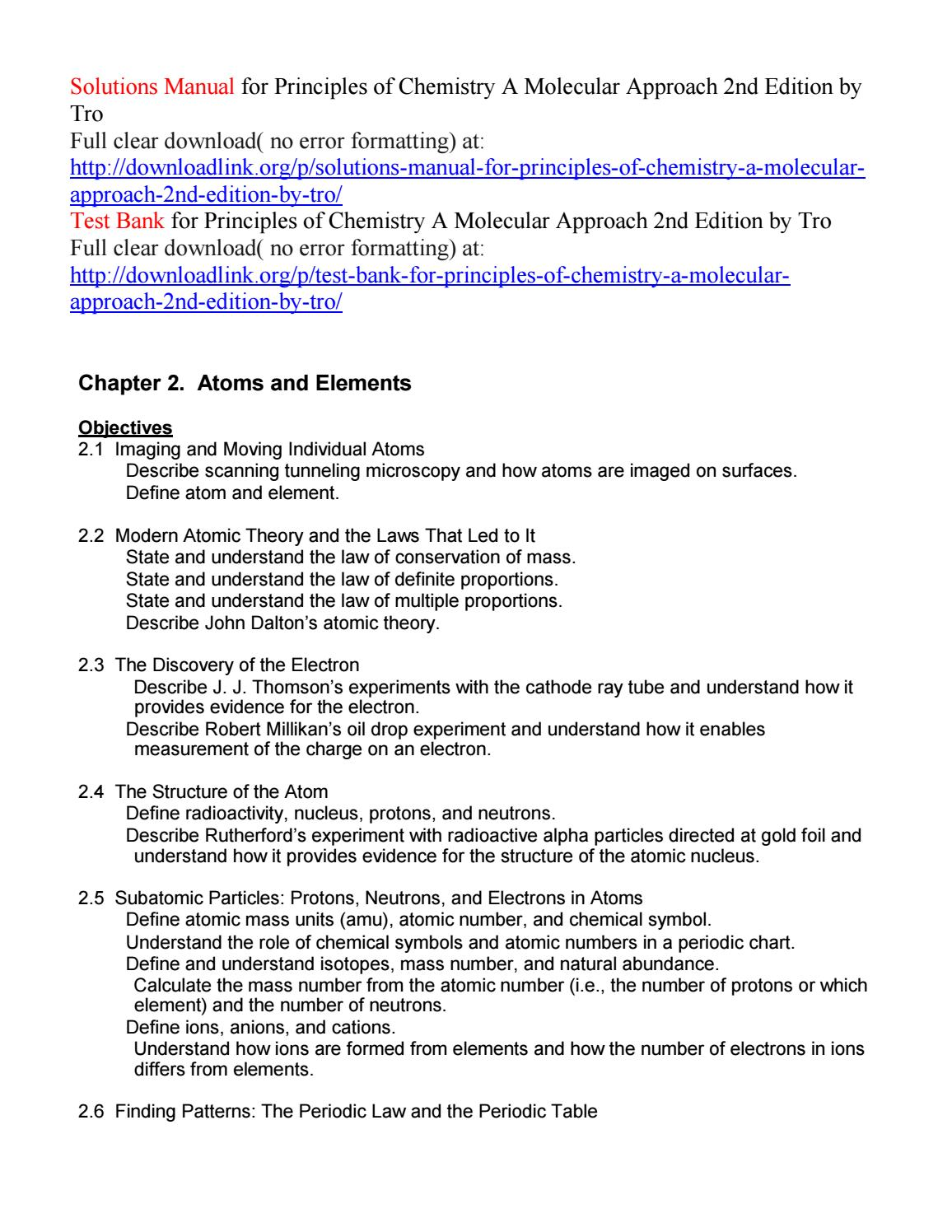 Solutions manual for principles of chemistry a molecular approach 2nd  edition by tro by Amelia1827 - issuu