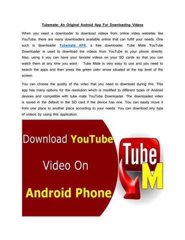 Tubemate : An original android app for downloading videos by