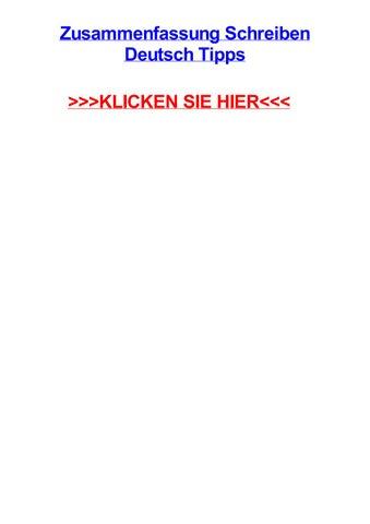 Zusammenfassung Schreiben Deutsch Tipps By Carolynpiegi Issuu