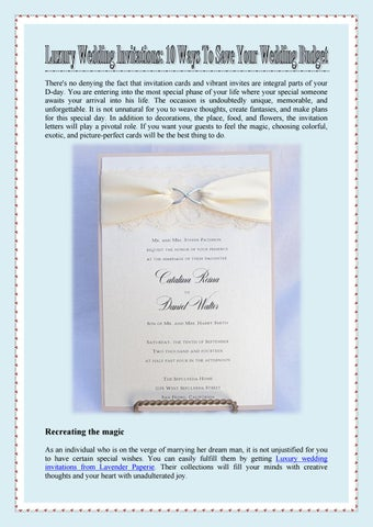 Luxury Wedding Invitations 10 Ways To Save Your Wedding Budget By