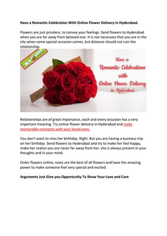 have a romantic celebration with online flower delivery in hyderabad