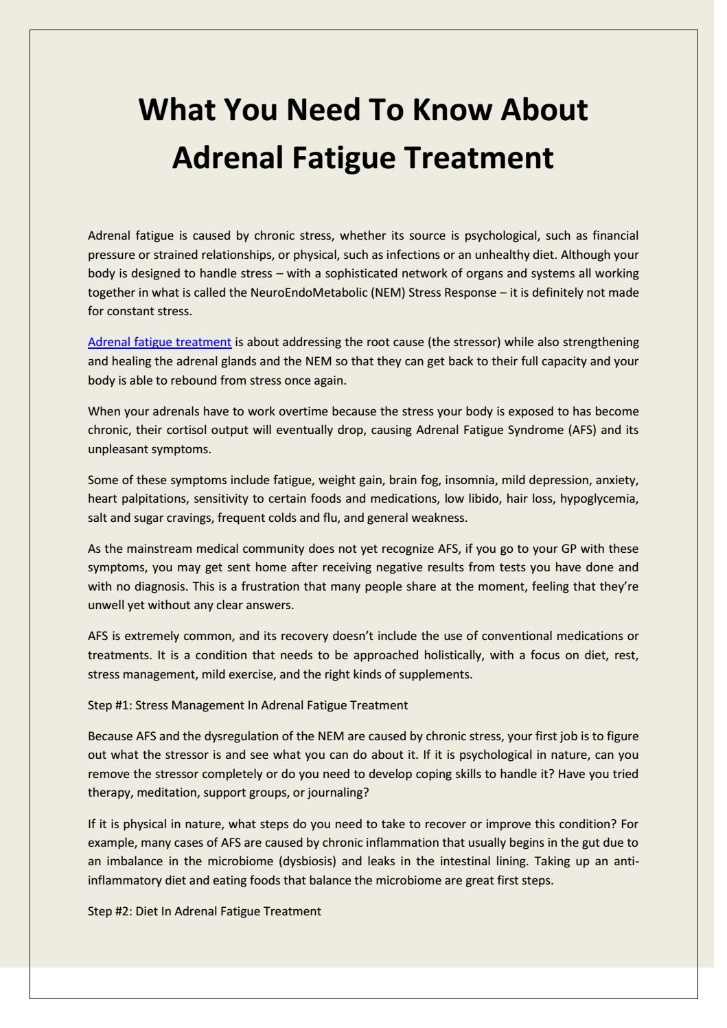 What you need to know about adrenal fatigue treatment by Dr Lam - issuu