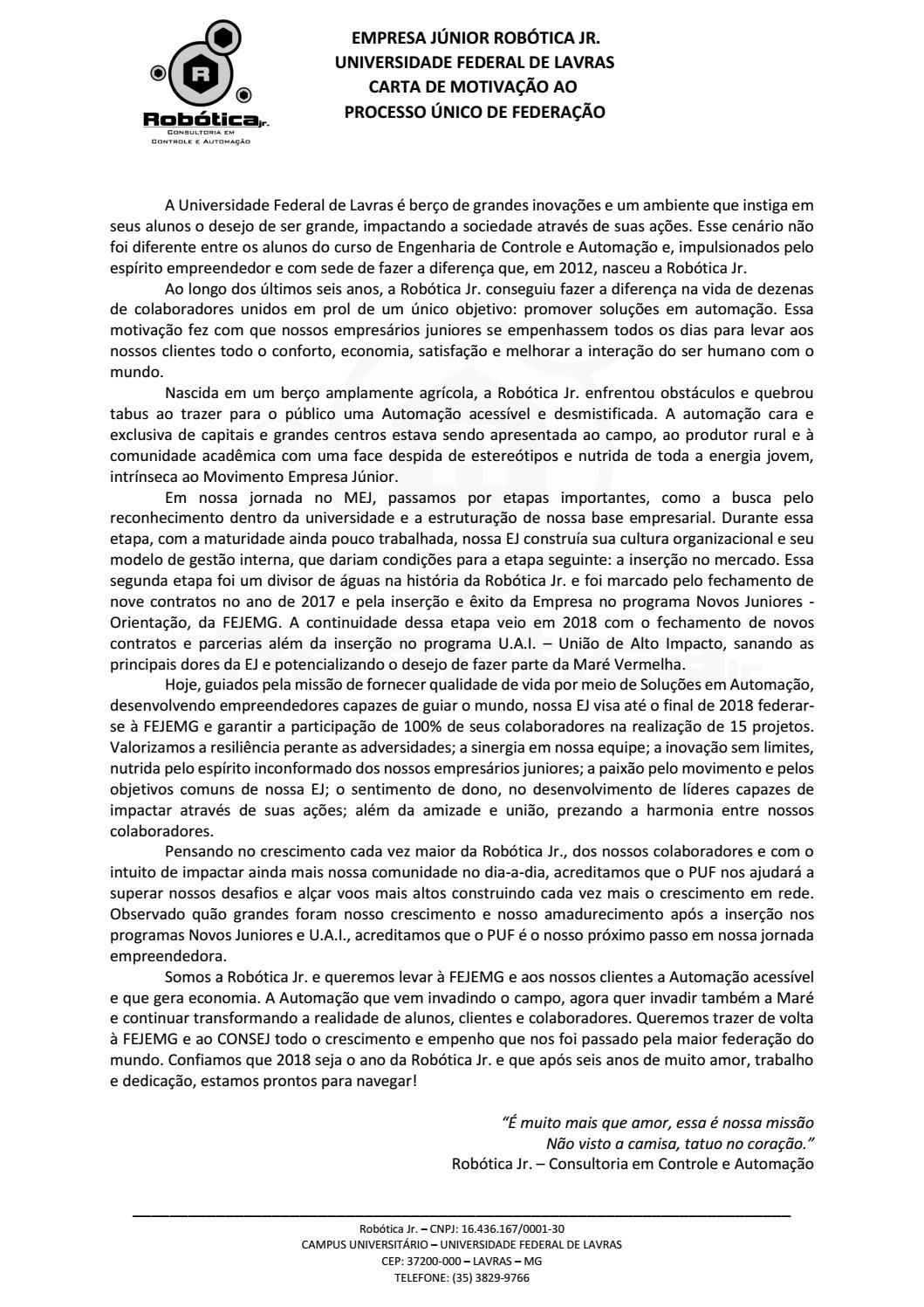 Carta De Motivação Ao Puf By Robótica Jr Issuu